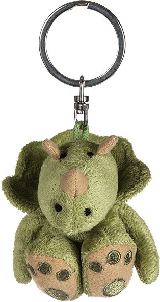 Petjes 990351 Triceratops Plush Keychain With Organza Pull